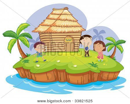 illustration of  kids waiting for a toilet - EPS VECTOR format also available in my portfolio.