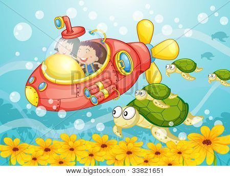 Illustration of a submarine scene - EPS VECTOR format also available in my portfolio.
