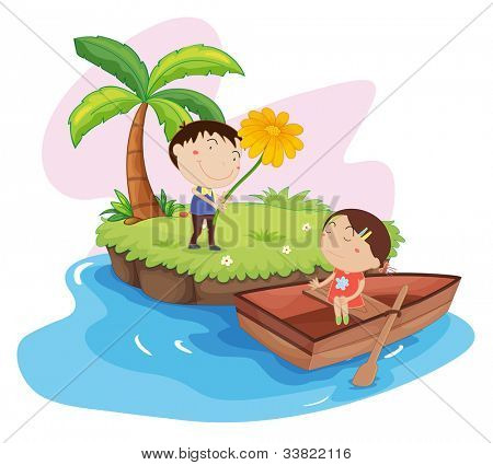 Illustration of couple on an island - EPS VECTOR format also available in my portfolio.