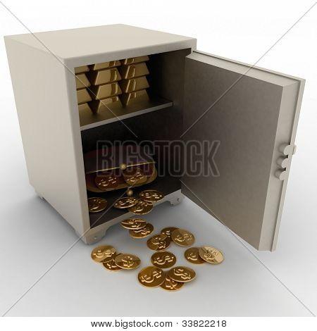 Abra seguro con lingotes de oro y monedero con dólares sobre fondo blanco