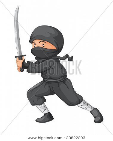 Illustration of a ninja with sword - EPS VECTOR format also available in my portfolio.