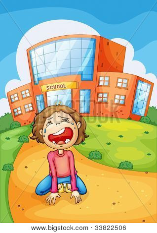 Illlustration of a girl crying at school - EPS VECTOR format also available in my portfolio.