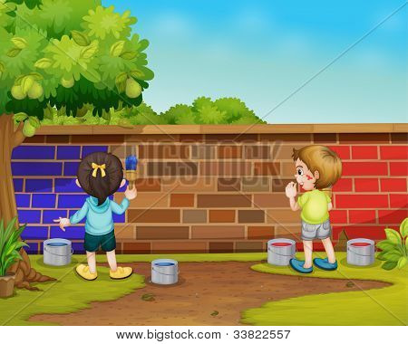 Illustration of 2 kids painting - EPS VECTOR format also available in my portfolio.