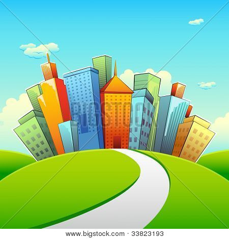 illustration of road going towards city with tall buildings