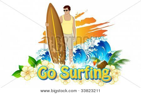 illustration of man standing with surf board for go surfing campaign