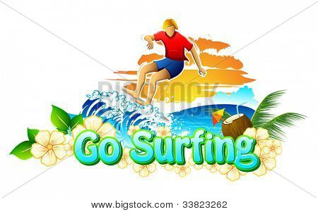 illustration of surfer surfing in sea for go surfing campaign