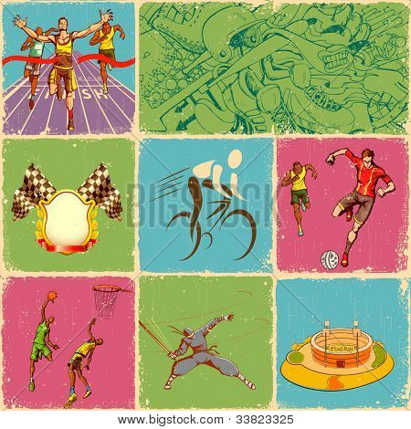 illustration of collage of different sports in retro style