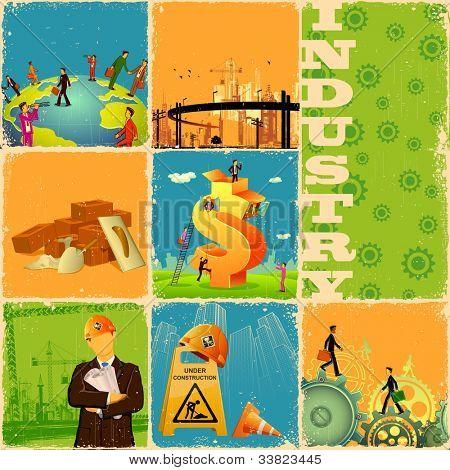 Ilustración de collage con un concepto diferente de la industria