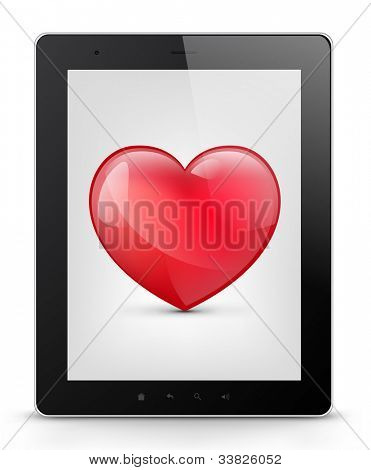 Valentine's Day Concept. Tablet PC Isolated on White Background. Vector EPS 10.