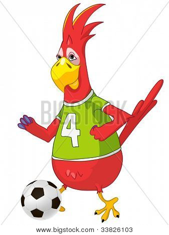 Cartoon Character Funny Parrot Isolated on White Background. Soccer. Vector EPS 10.
