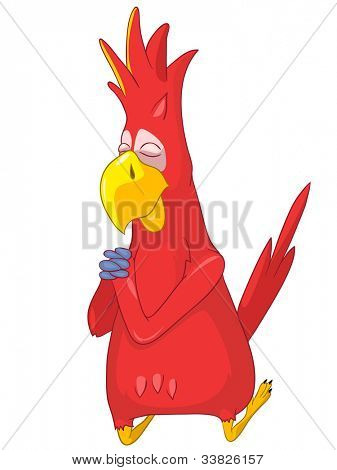Cartoon Character Funny Parrot Isolated on White Background. Prey. Vector EPS 10.