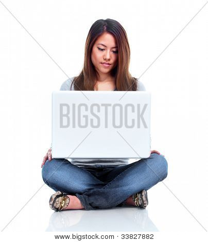 Student with laptop computer. Isolated on white background.