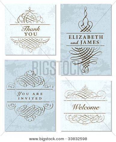 Vector Pastel Frame and Ornament Set. Easy to edit. Perfect for invitations or announcements.