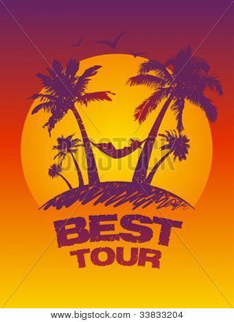 Mejor plantilla de diseño de tour con vista tropical.