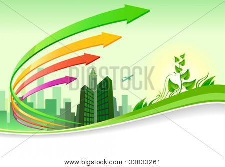 Abstract green city  landscape   business brochure design
