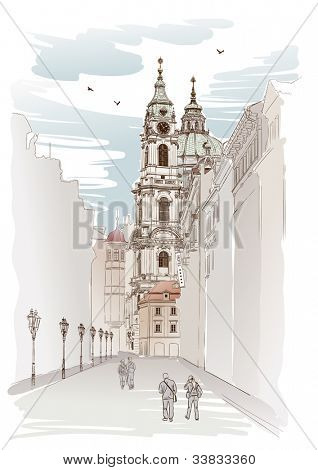 Vector sketch of Saint Nicholas Cathedral in Prague, Czech Republic