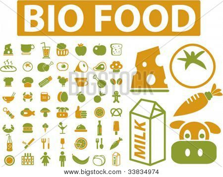 Bio alimentos iconos set, vector