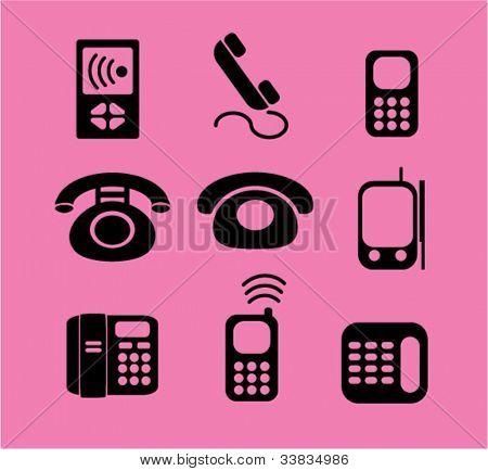 teléfono iconos set, vector