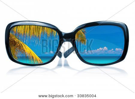 Modern sunglasses with a colorful tropical beach scene and coconut palm trees reflected on the glass