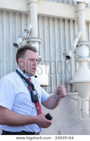 MALINO, MOSCOW DISTRICT, RUSSIA - JUNE 5: General director Gennady Shtan'ko guides a press-tour to the factory of