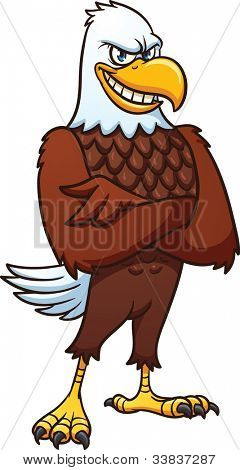 Cool cartoon bald eagle. Vector illustration with simple gradients. All in a single layer.