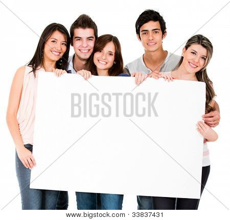 Group of people holding a banner - isolated over white