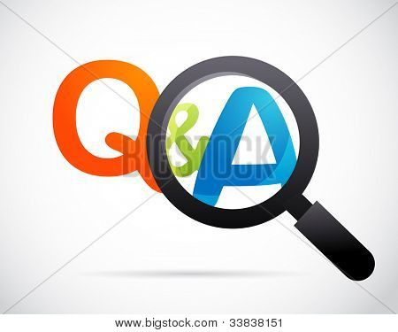 magnifying glass with question and answer