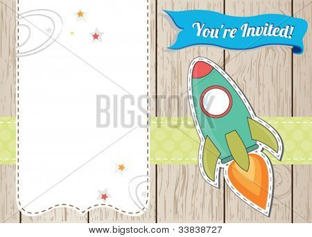Rocket ship card with place for you text