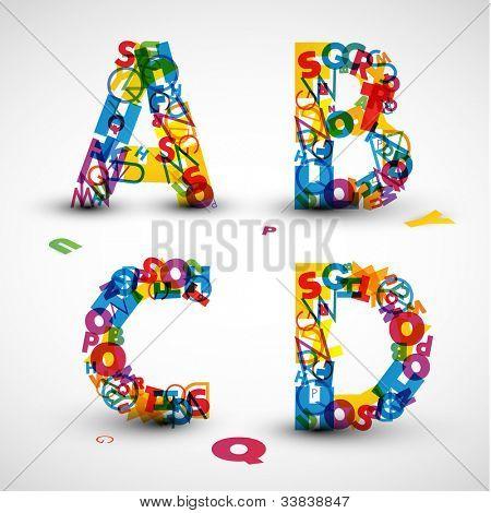 Fuente de vector de color de las cartas del alfabeto