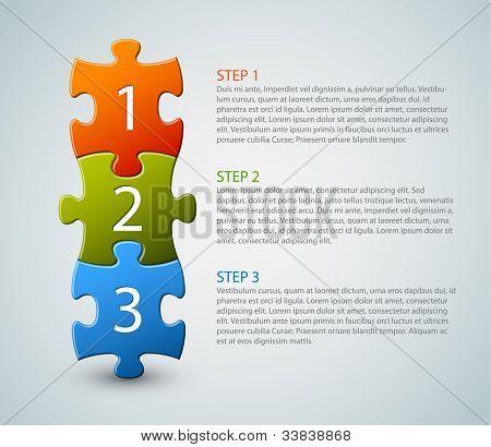 Uno dos tres - vector iconos de progreso de tres pasos