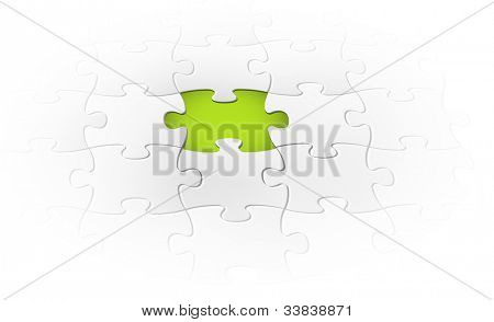 Vector background made from white puzzle pieces with one missing