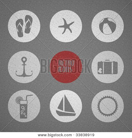 Vector summer poster made from icons - retro black and white version