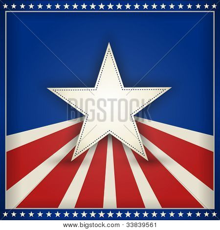 Center star on blue background with red and beige stripes with outer frame of 50 little stars on blue forming an USA patriotic themed background. Space for your text. EPS10
