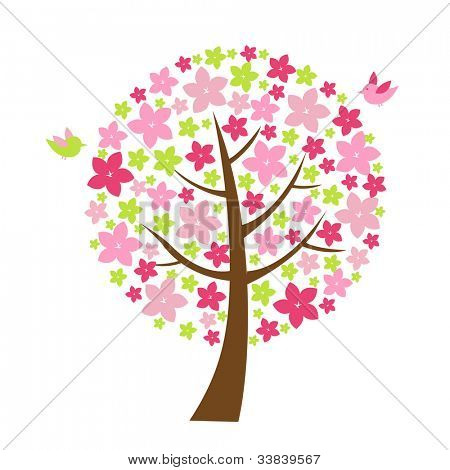 2 Birds And Tree With Flowers, Isolated On White Background, Vector Illustration