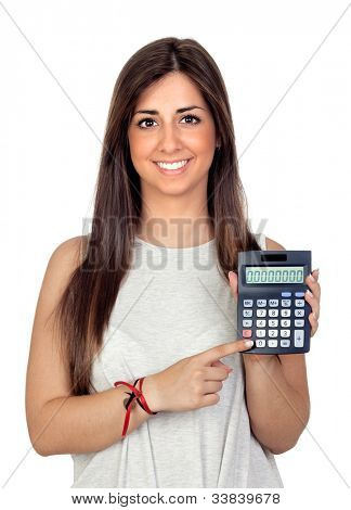 Atractive girl with a calculator isolated on white background