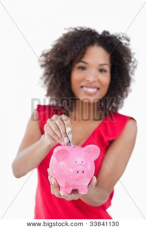 Piggy bank receiving dollar notes against a white background