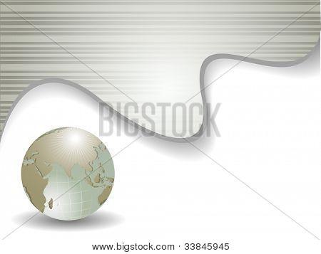 Plantilla profesional corporativo o de negocios para presentaciones financieras mostrando globo en brillante gree