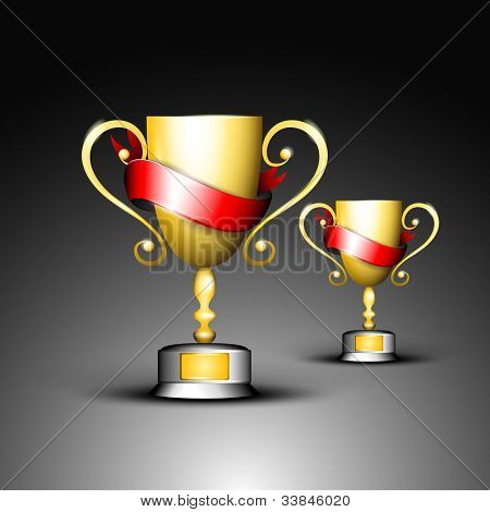 Golden trophy or golden cup with red ribbons, isolated on grey background. EPS 10.