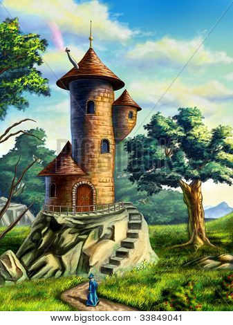 Fantasy landscape with a mage tower. Digital illustration.
