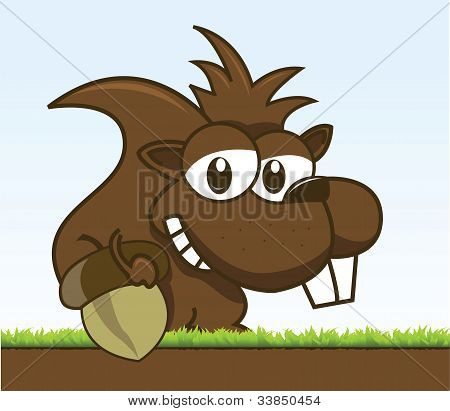 chipmunk holding his acorn