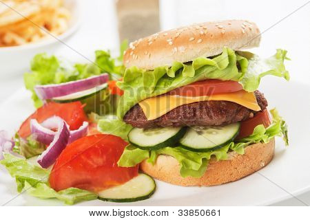 Classic hamburger served with vegetable salad, healthier fast food concept