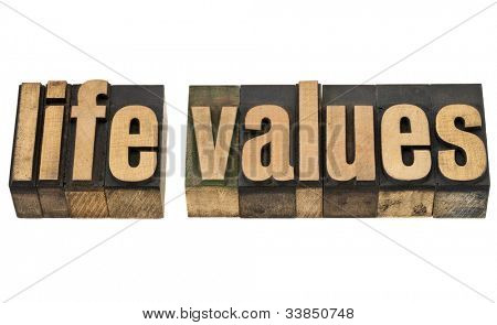 life values - isolated text in vintage letterpress wood type