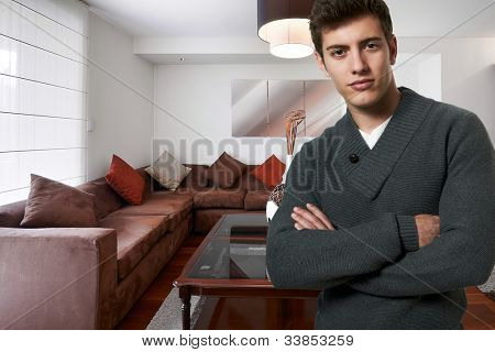 successful business man at his new modern house