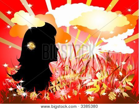Lady In Floral Silhouette
