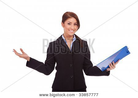 young business woman holding a  clipboard and welcoming you,  isolated on white background