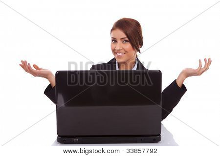 business woman is welcoming you to her desk, over white background
