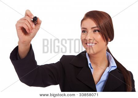 Business woman writing something with a black marker - closeup picture