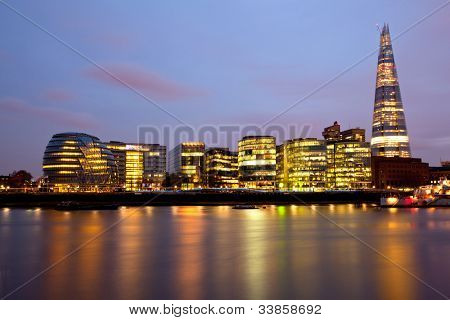London City Hall Skylines along River Thames at Dusk, England UK