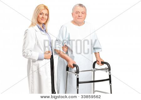 A female doctor or nurse helping a senior patient to use a walker isolated on white background