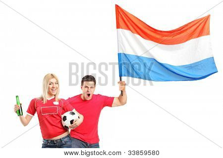 Male and female euphoric fans with beer bottle, football and dutch flag isolated on white background
